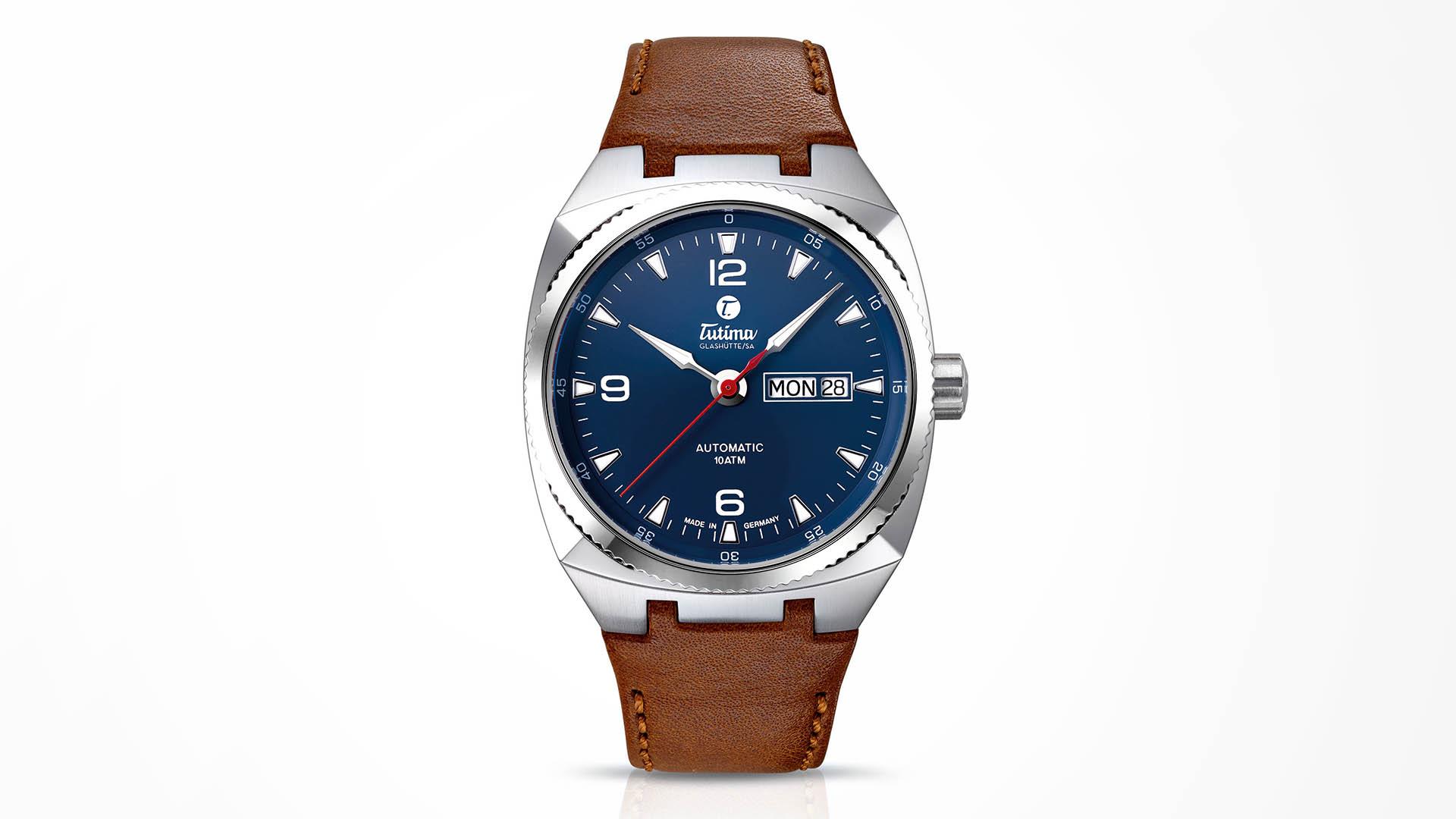 Tutima Saxon One M Edelstahl Lederband blaues Zifferblatt