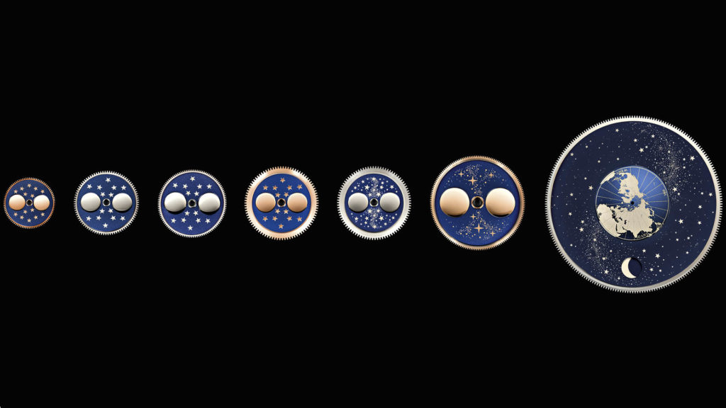 Mondscheiben verschiedener Modelle von A. Lange & Söhne.