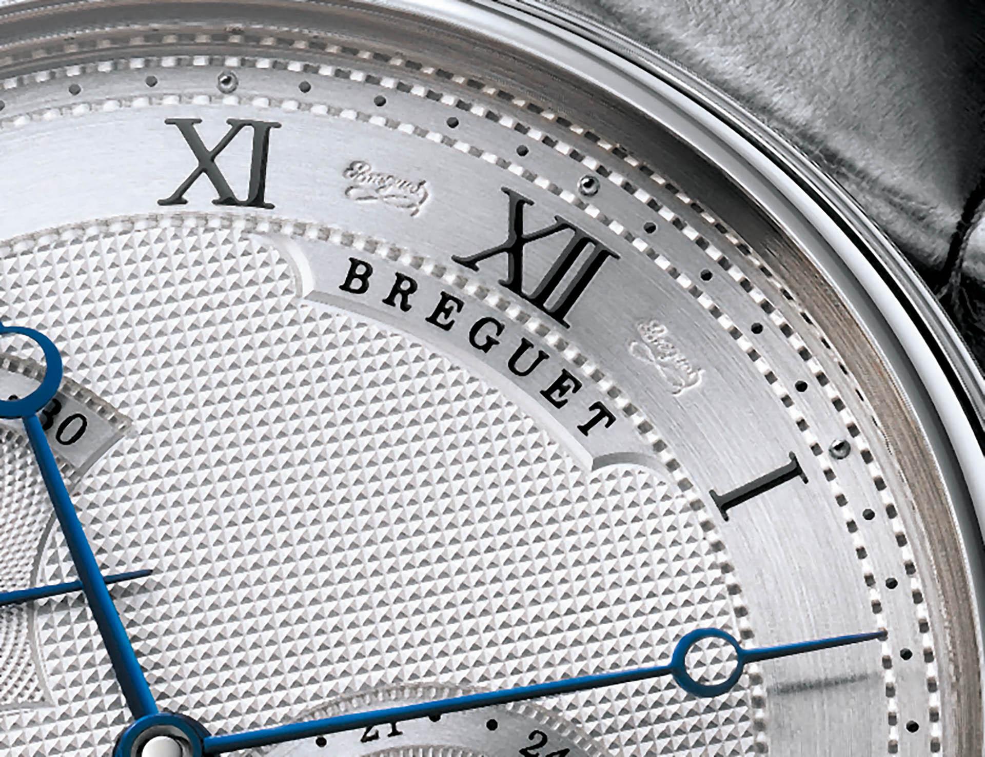 Die geheime Breguet-Signatur auf dem Zifferblatt.