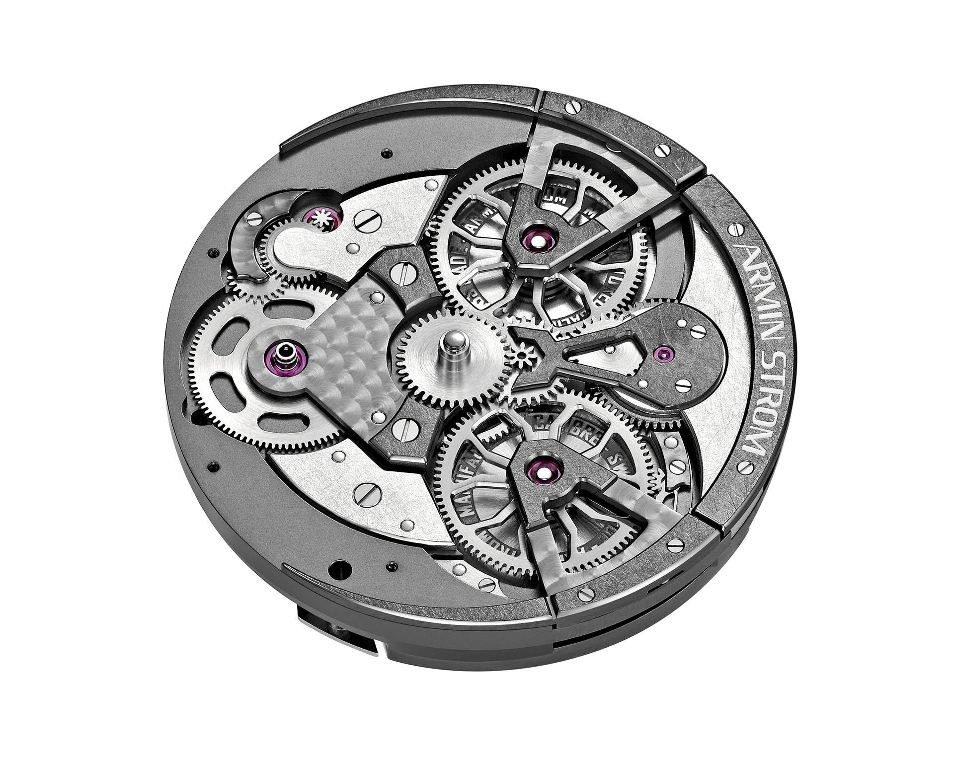 Individualität sogar beim Uhrwerk: hier das Handaufzugskaliber ARM16, das in der Edge Double Barrel arbeitet.