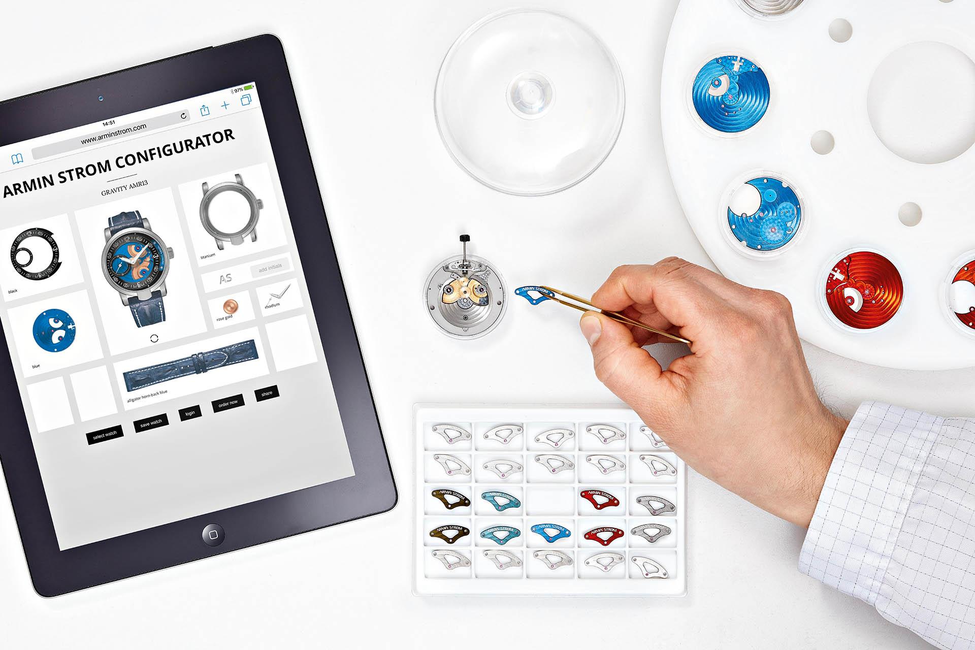 In wenigen Schritten am Bildschirm direkt zur Wunschuhr: Der Uhren-Konfigurator von Armin Strom ist logisch aufgebaut und leicht verständlich.
