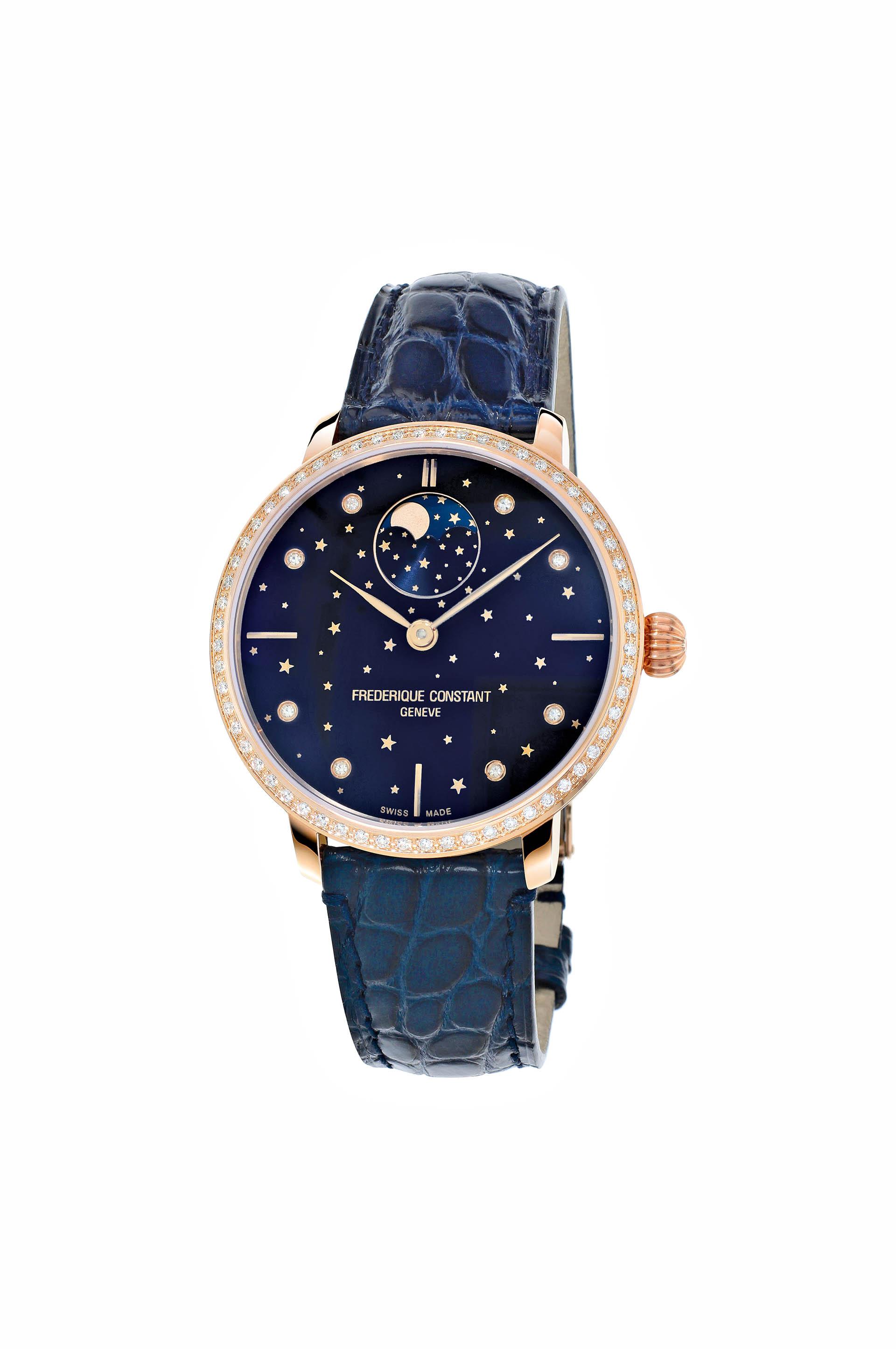 Damenuhr Slimline Moonphase Stars Manufacture von Frédérique Constant.