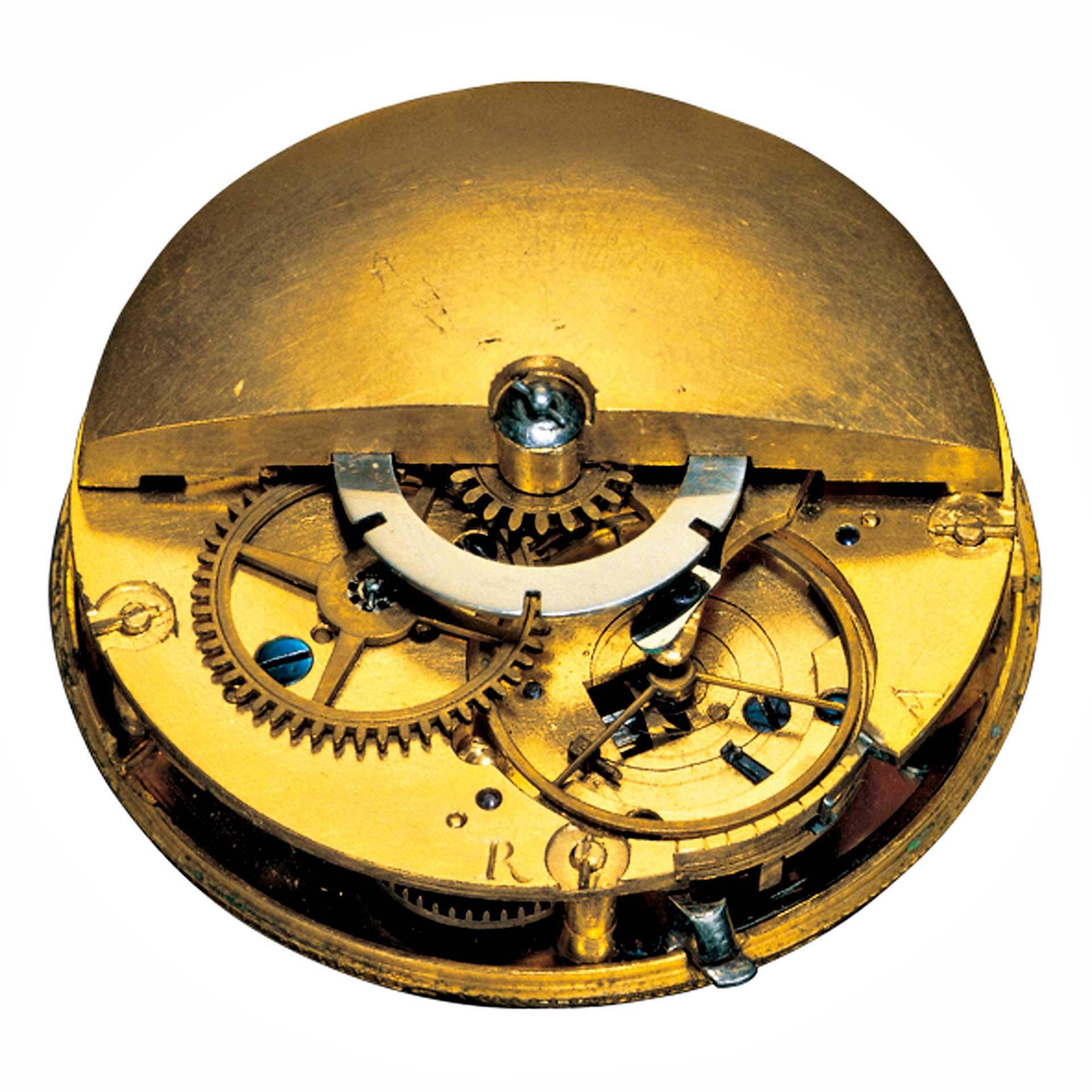 Abraham Louis Perrelet aus Le Locle hatte um 1770 die Idee, die Zugfeder über eine drehbare Schwungmasse aufzuziehen, und nannte seine Vorrichtung «Perpetual».