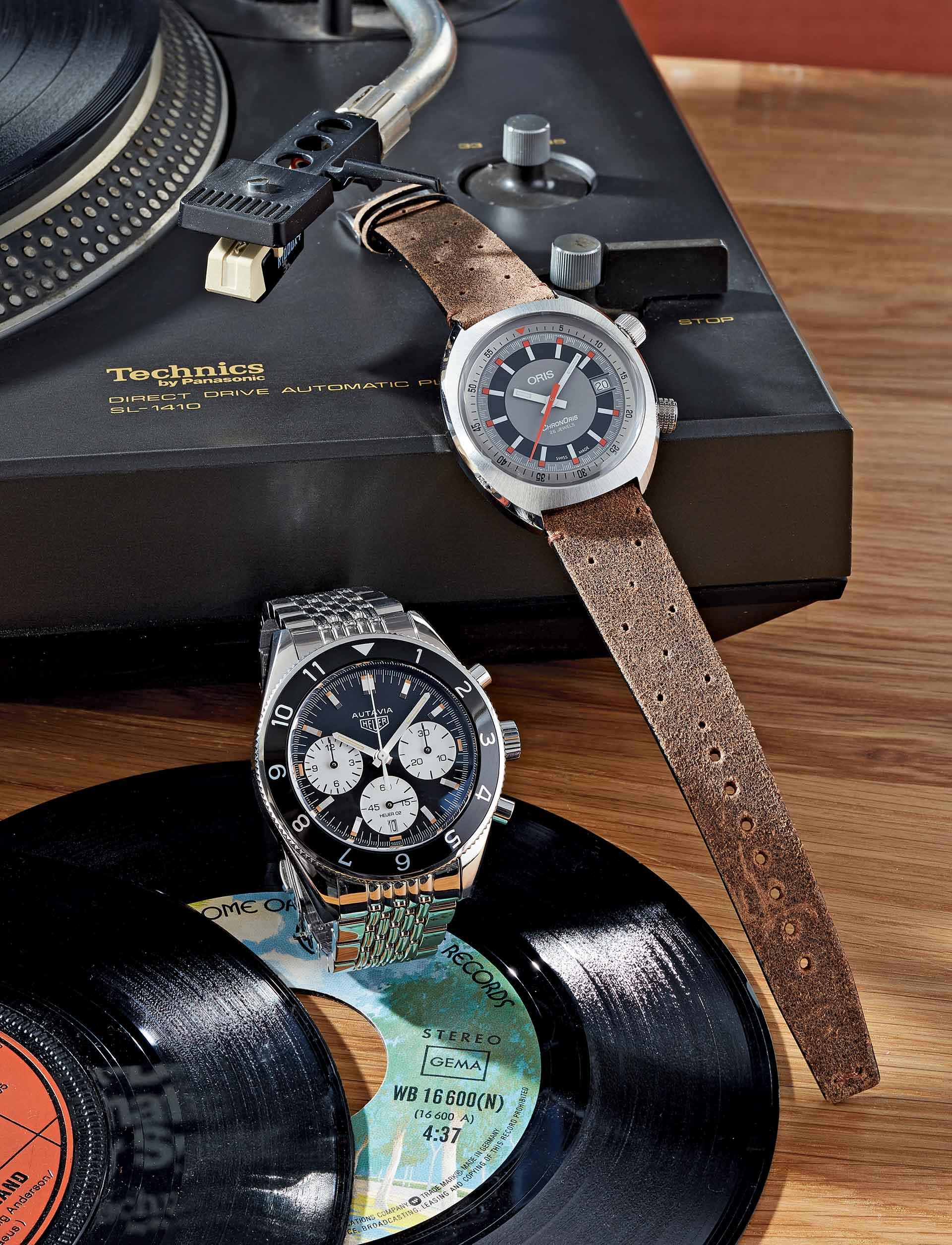 Der Chronograph Autavia Calibre 02 von TAG Heuer und das Modell Chronoris Date von Oris sind gestalterisch Kinder der 1960er Jahre.