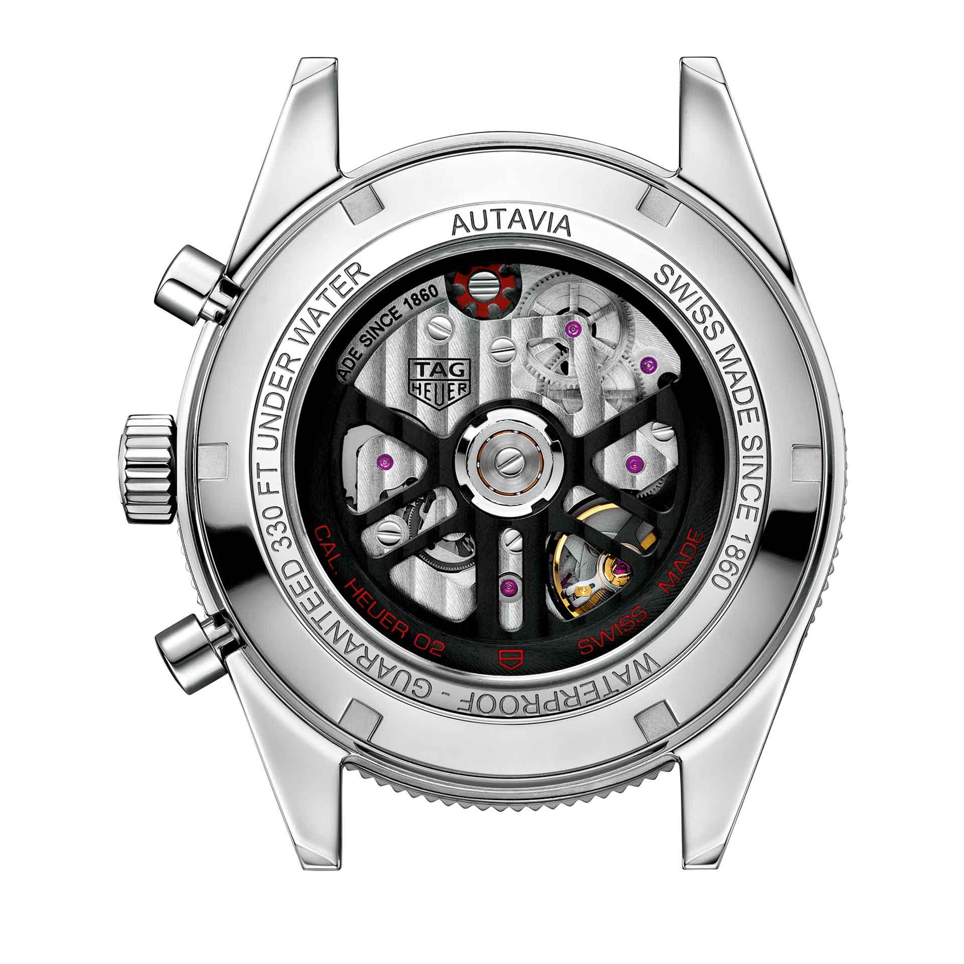 Das Manufaktur-Chronographenkaliber Heuer 02 von TAG Heuer bietet eine stattliche Gangreserve von 80 Stunden.
