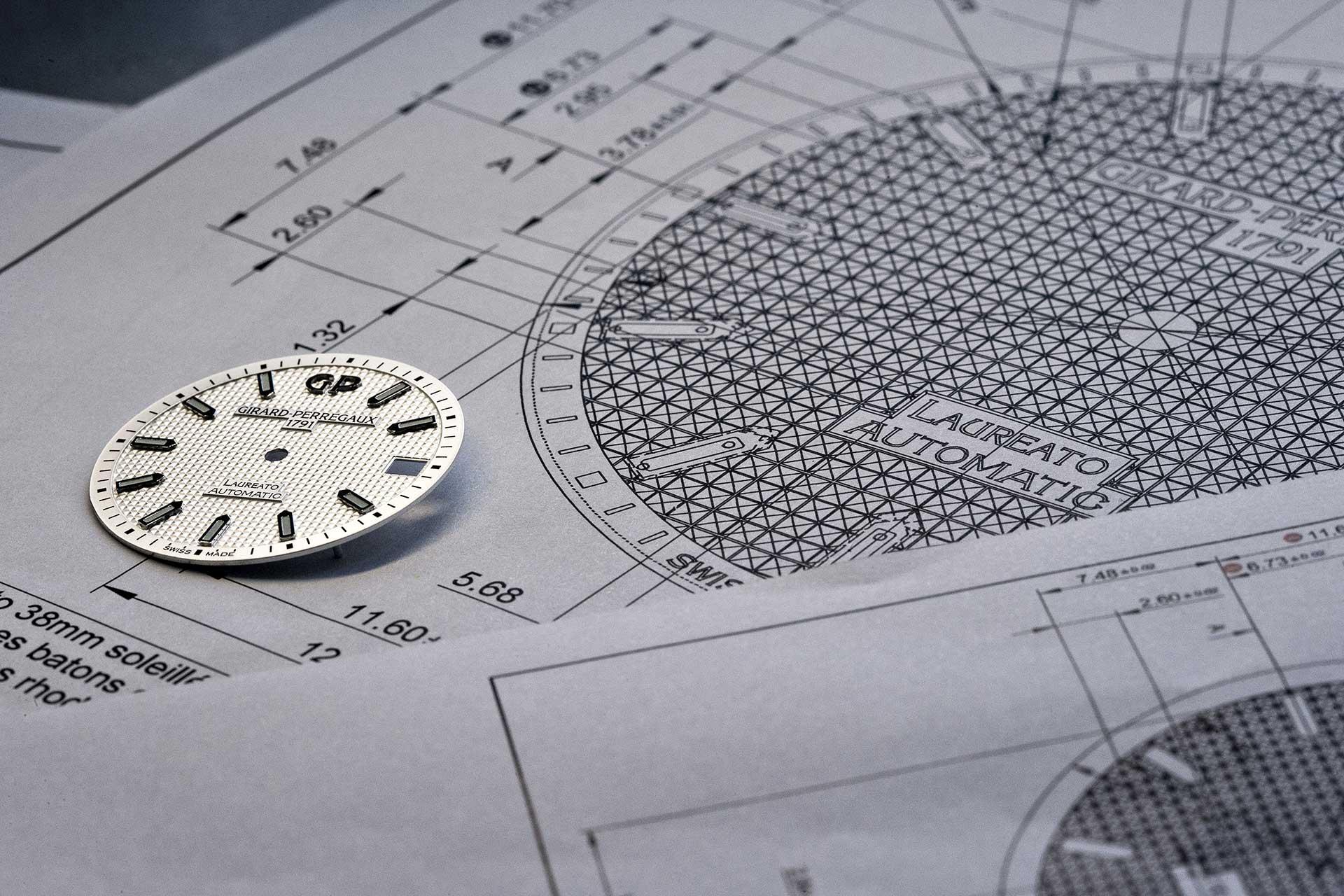 Das waffelähnliche «Clous de Paris»-Muster des Laureato-Zifferblatts von Girard-Perregaux betont den Vintage-Charakter der Uhr.