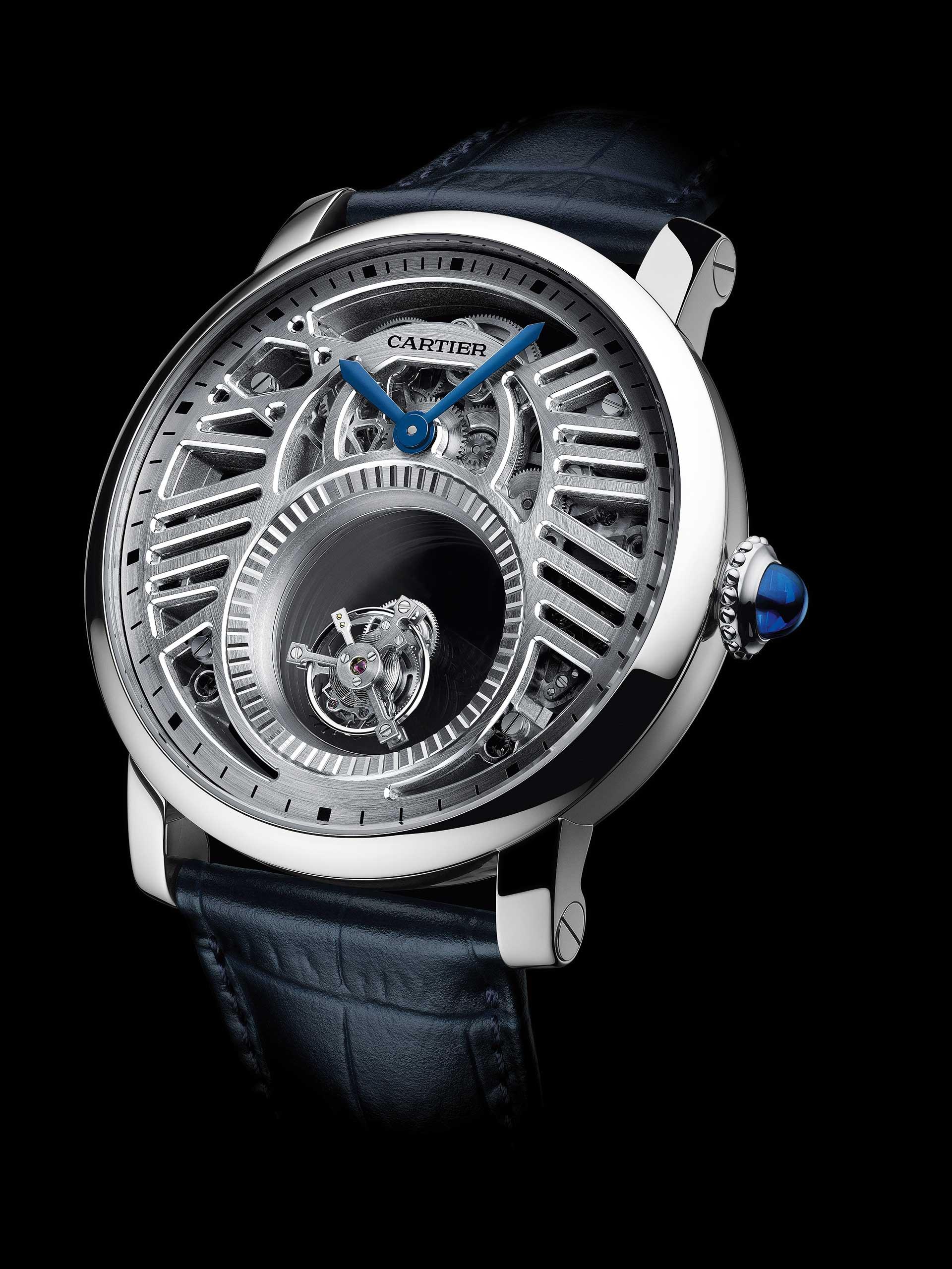 In den Cartier-Uhrenmodellen «Mystérieuse» dient Saphirglas als unsichtbare Tourbillonbrücken