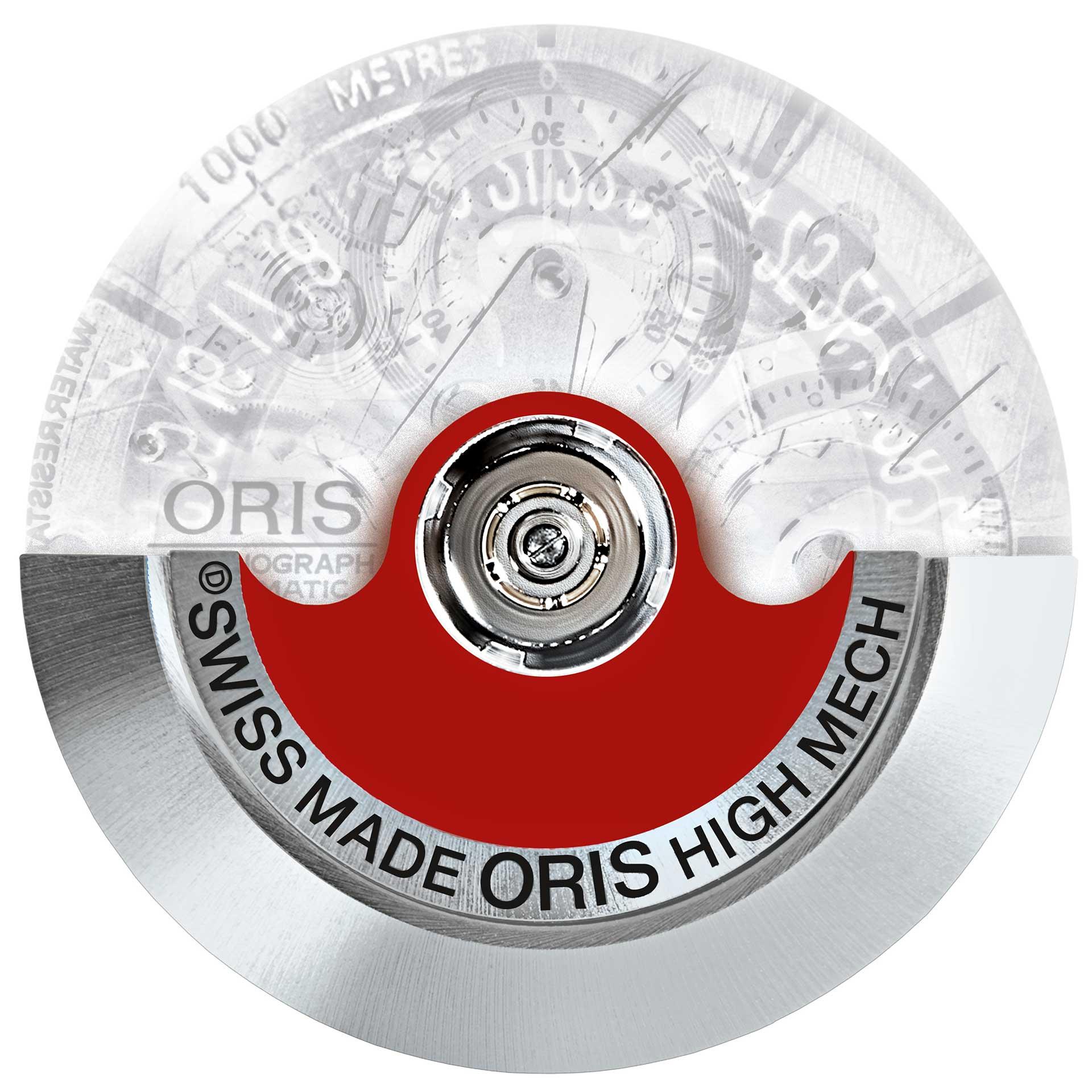 Signalfarbe: Oris nutzt seit 2002 den roten Aufzugsrotor als Symbol und hat ihn als Warenzeichen schützen lassen.