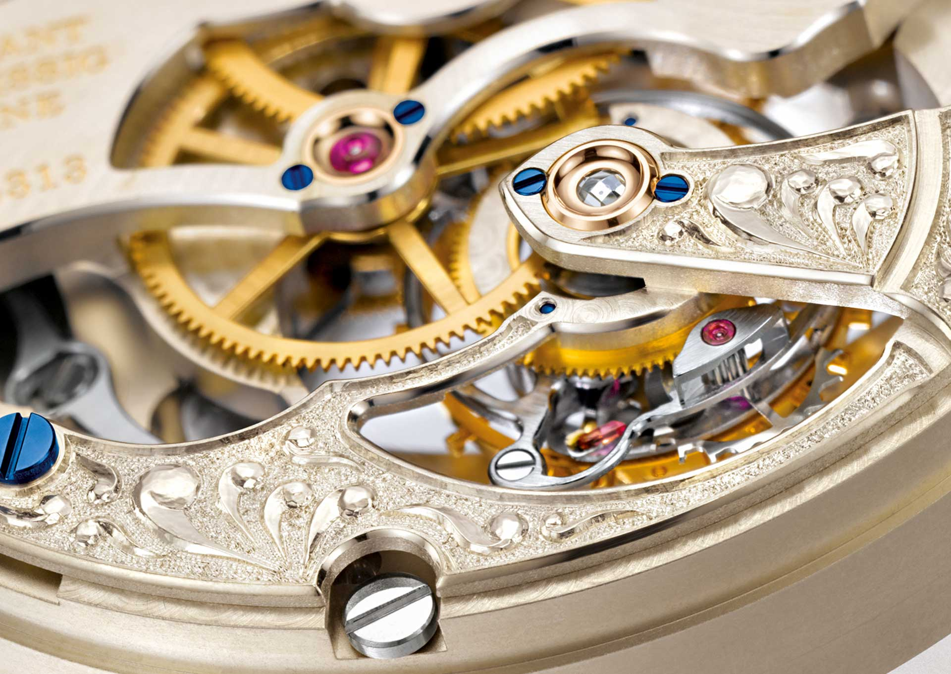 Von Hand gravierter Unruhkloben in einem Uhrwerk von A. Lange & Söhne.