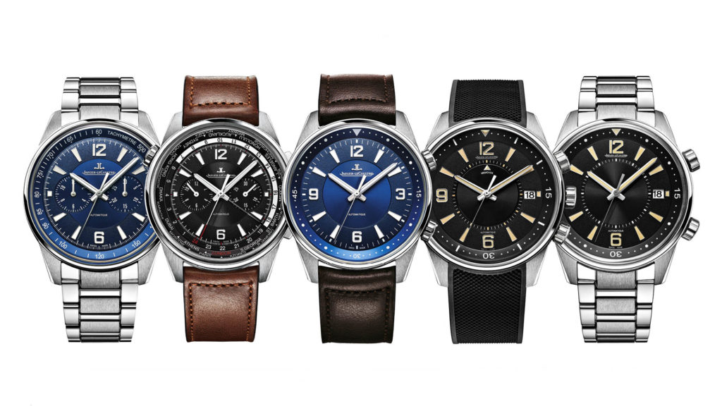 Die neue Polaris-Kollektion von Jaeger-LeCoultre in ihrer ganzen Vielfalt (von links): Polaris Chronograph, Polaris Chronograph Worldtime, Polaris Automatic, Polaris Memovox und Polaris Date.