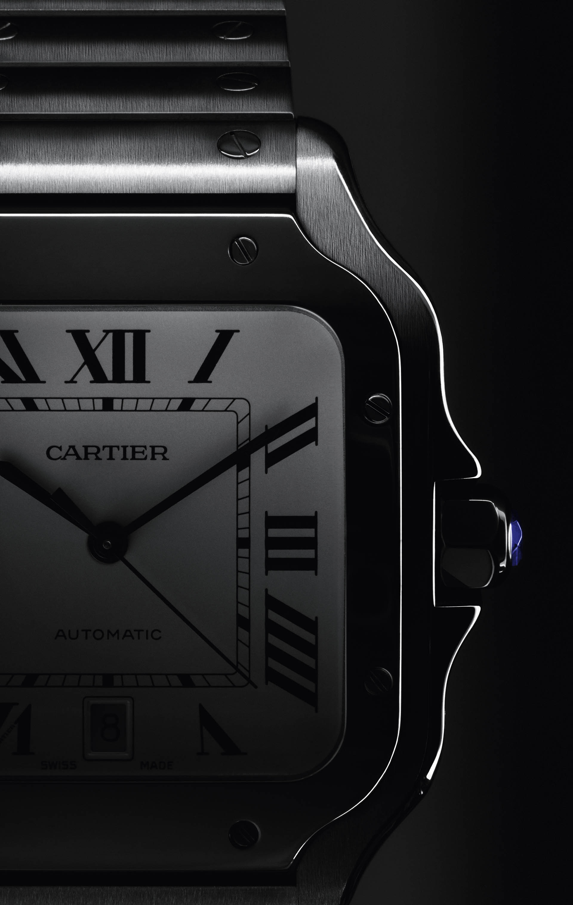 Detailansicht: das klassische Zifferblatt der Santos de Cartier.