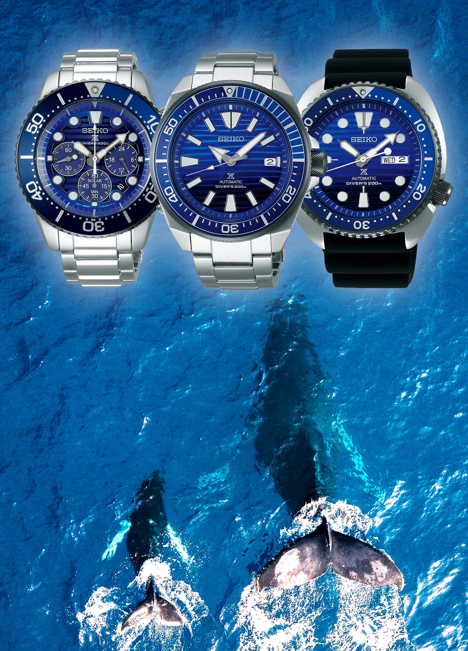 Seiko Prospex Save the Ocean Solar Chronograph SSC675P1, Automatikuhren SRPC93K1 und SRPC91K1