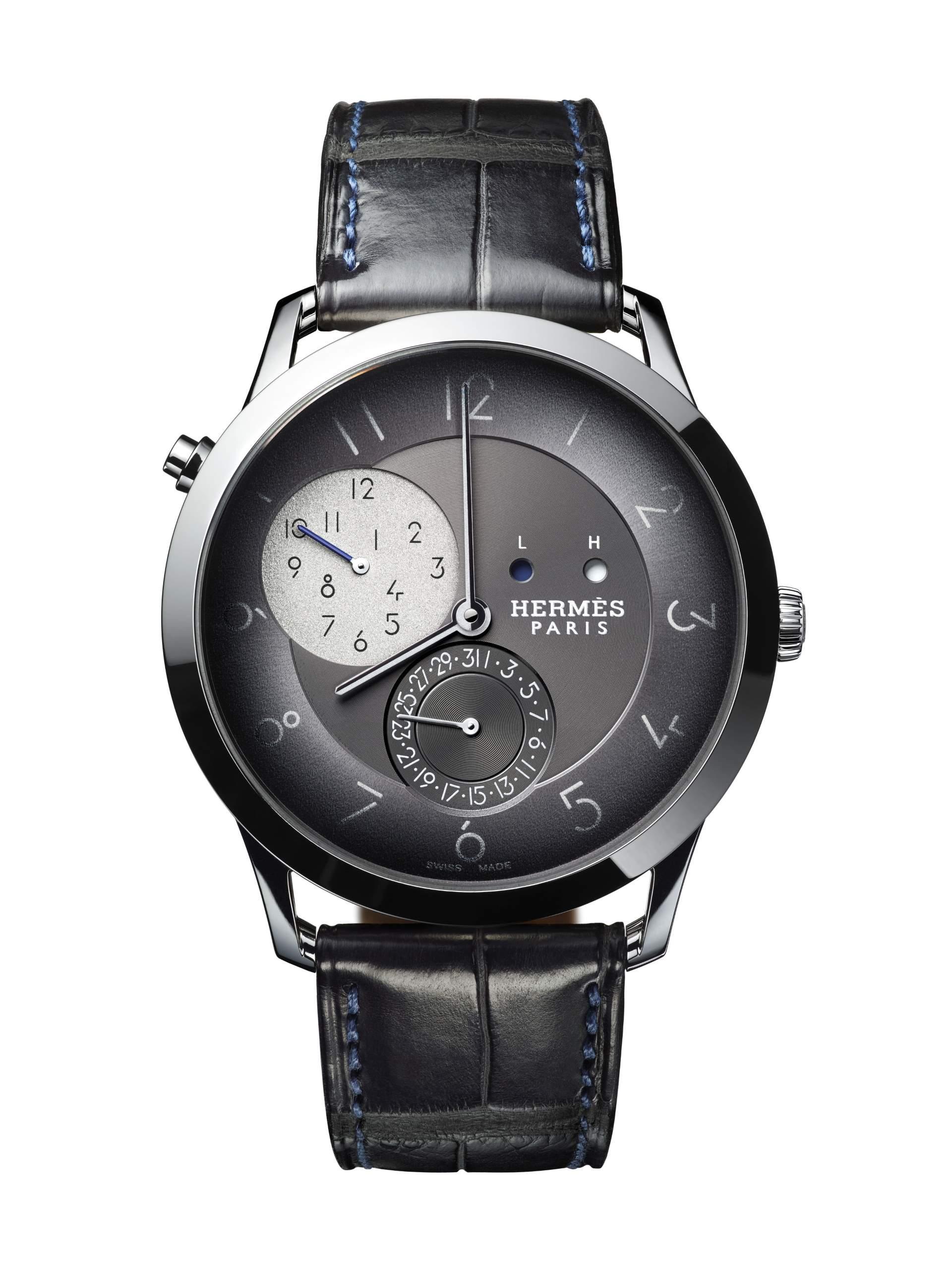 Slim d'Hermès GMT mit extraflachem Automatikkaliber H1950 und zusätzlichem GMT-Modul. Das Modell bietet eine zusätzliche Zeitzonenanzeige mit Tag-Nacht-Indikation.