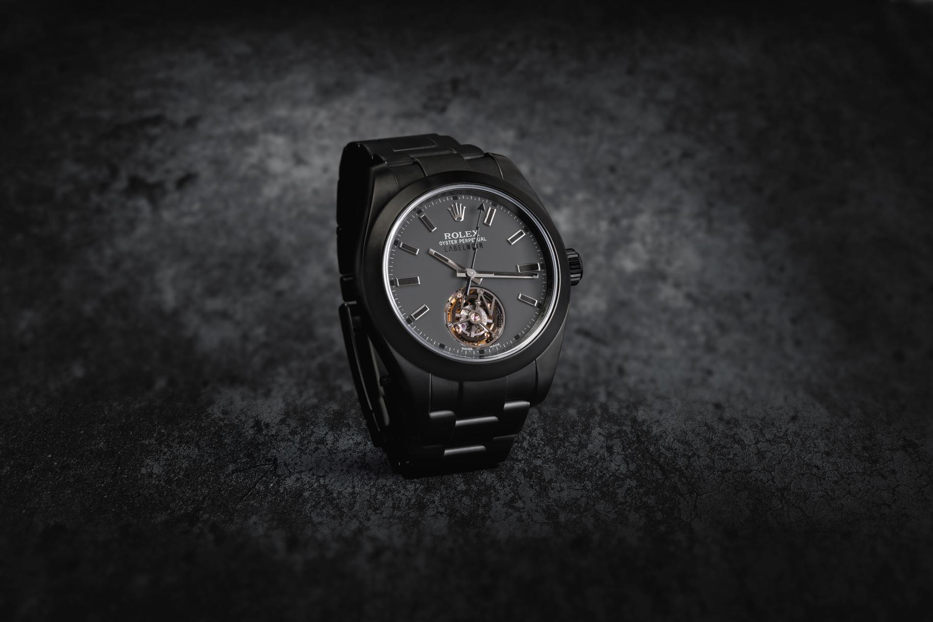 Label Noir Milgauss mit Tourbillon Rolex Umbau