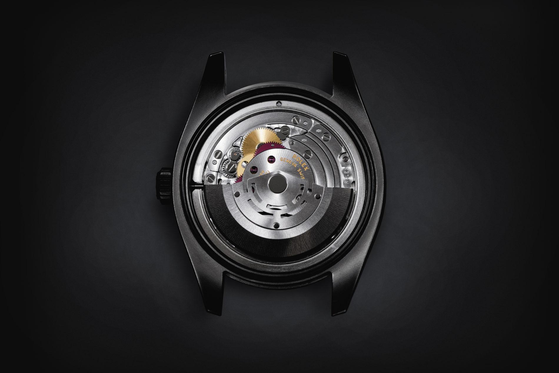 Das Rolex Kaliber 3131 nach dem Umbau auf Tourbillon-Hemmung