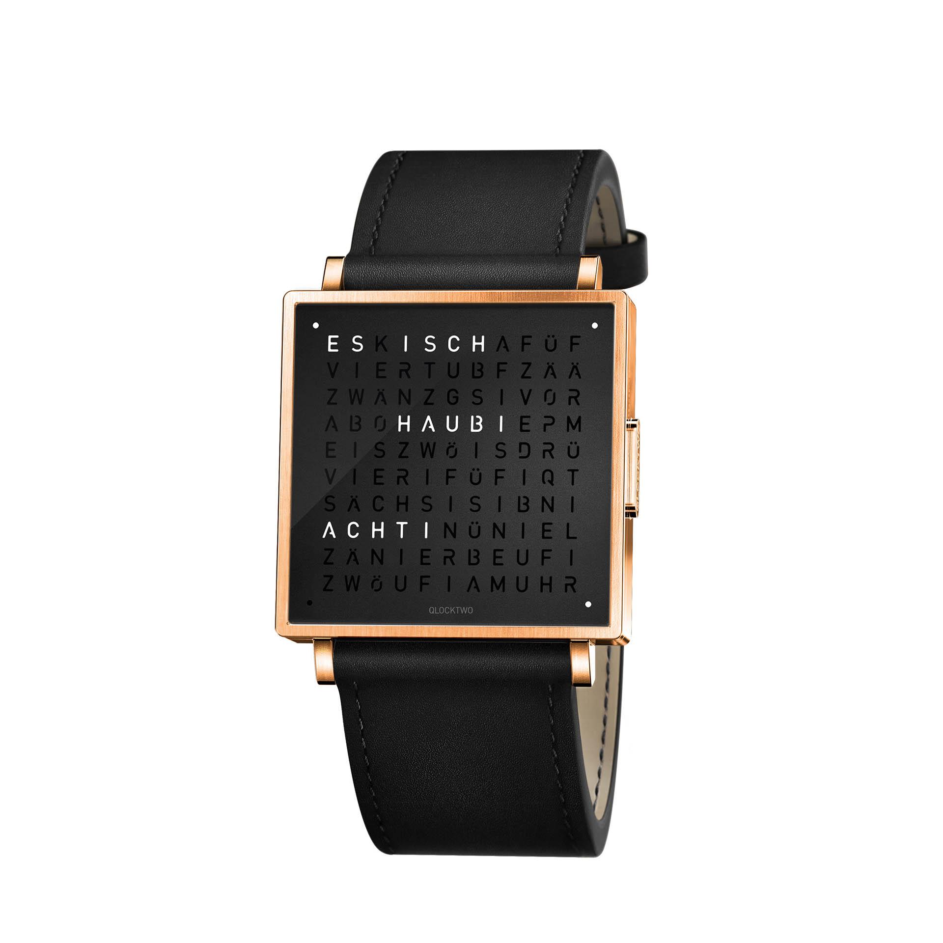 Qlocktwo Armbanduhr W35 Rose Black