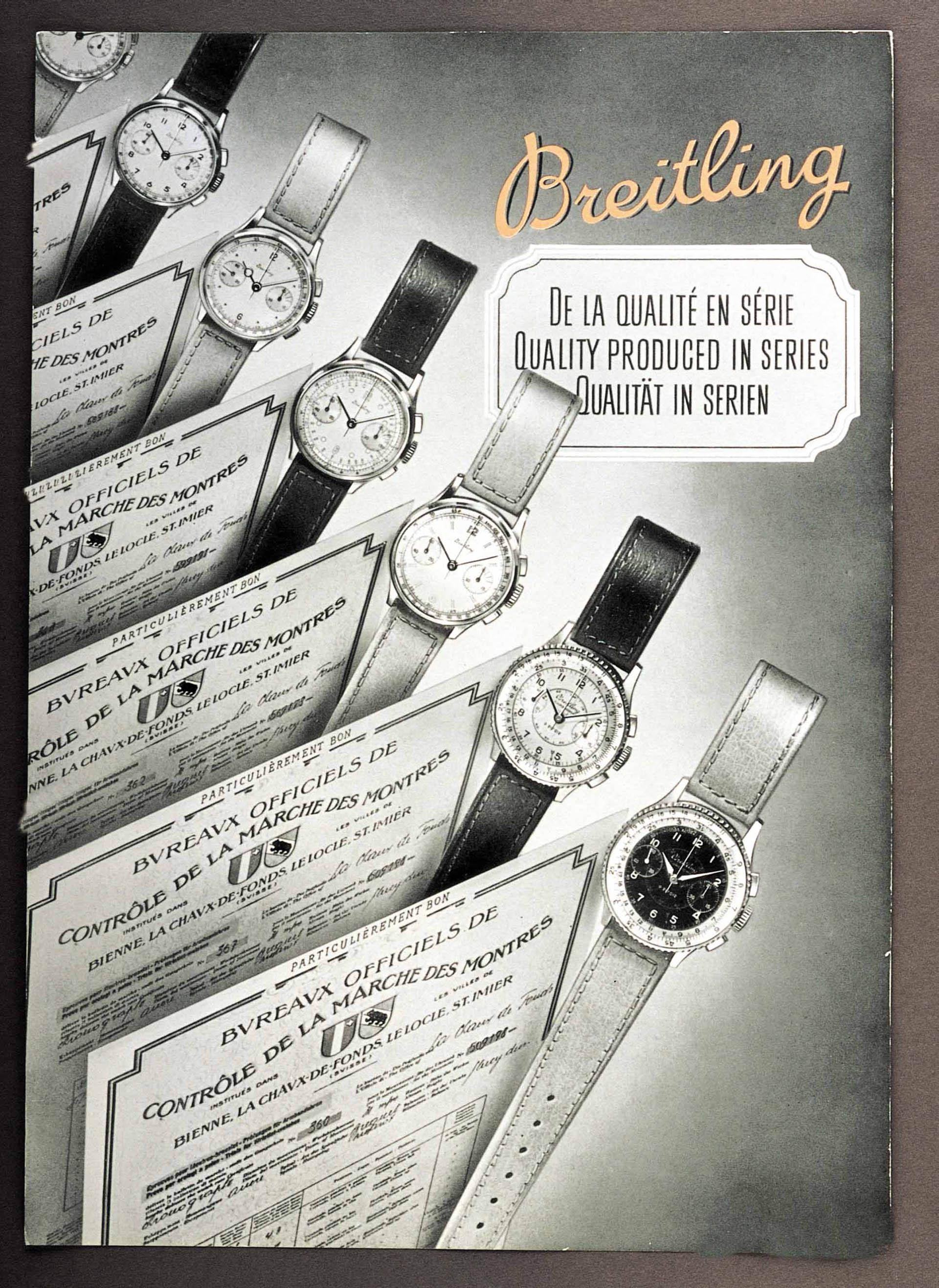 Breitling-Werbung von 1946: Qualität in Serie