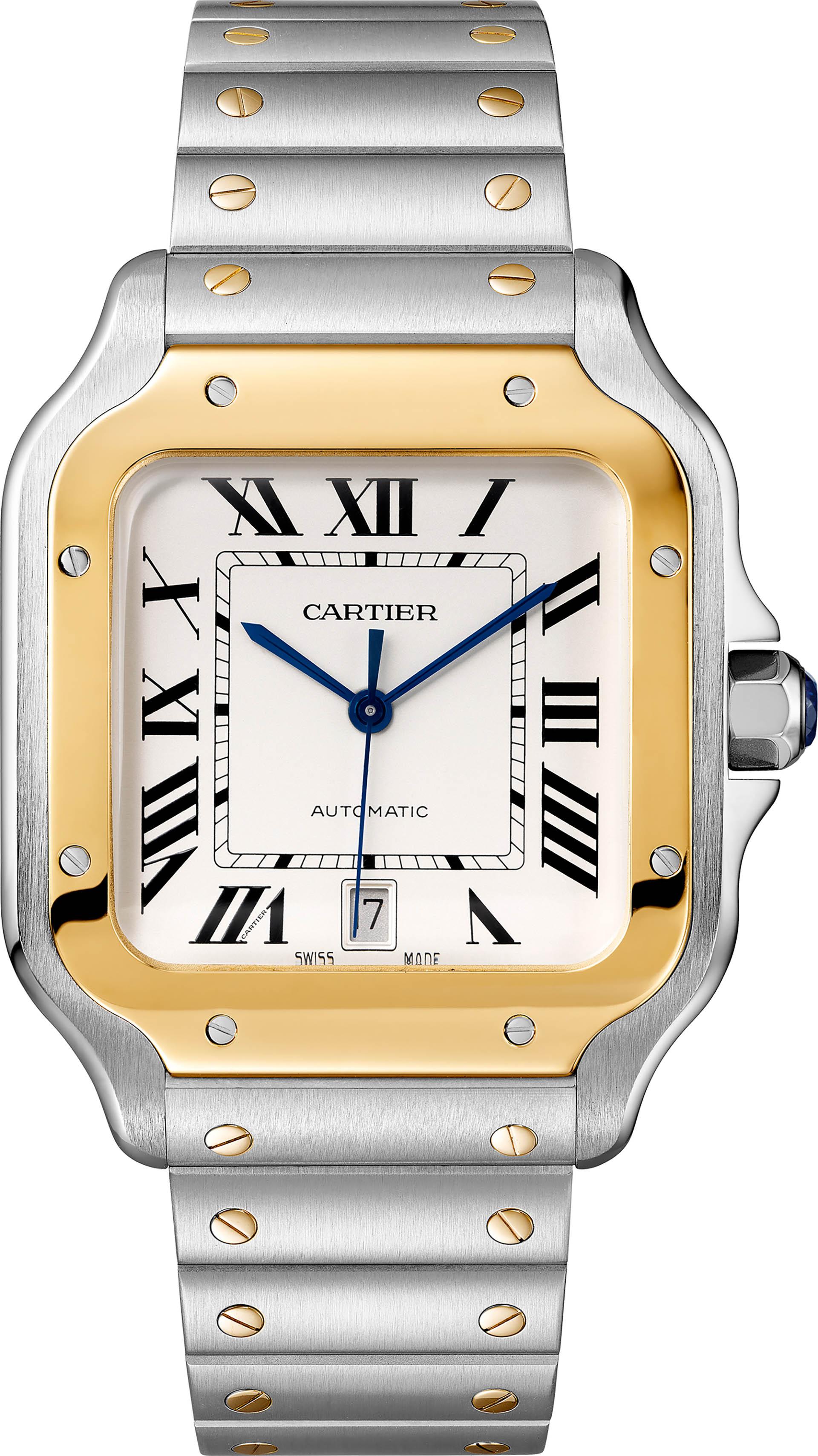 Cartier Santos Automatik in Edelstahl mit Goldlünette