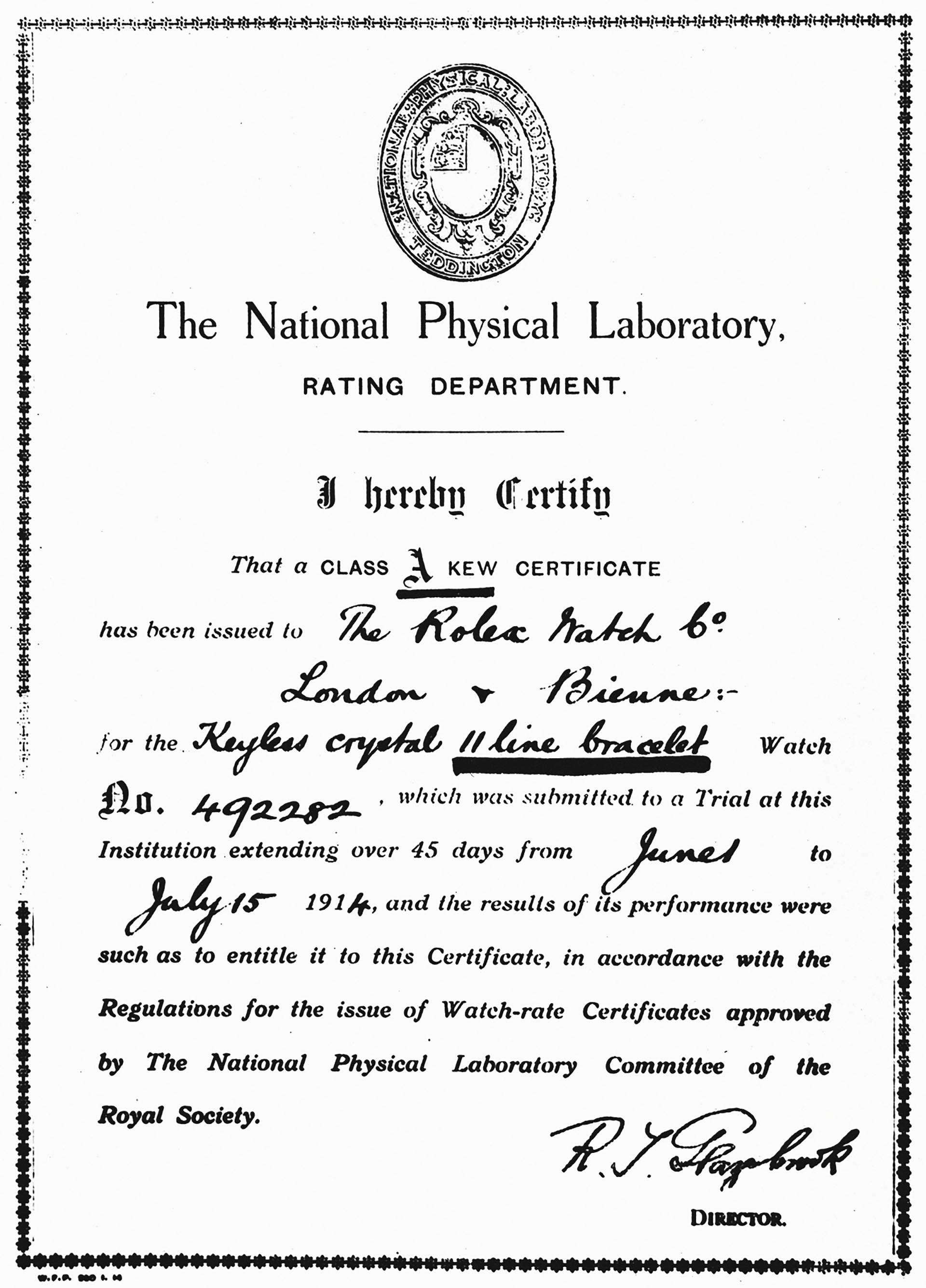 Chronometerzertifikat der Klasse A vom Observatorium Kew-Teddington (1914).