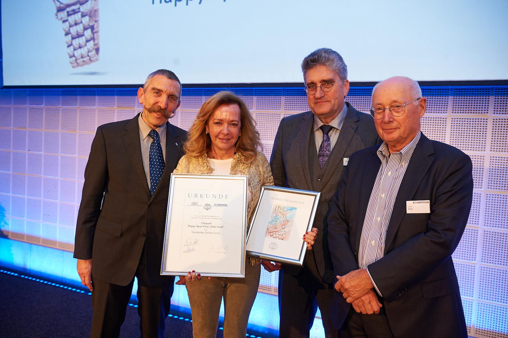 Caroline Scheufele, Co-Präsidentin von Chopard, wurde für ihre Initiative zu ethisch fair geschürften und gehandeltem Gold mit dem Jurypreis für die Trendsetterin des Jahres 2019 geehrt.