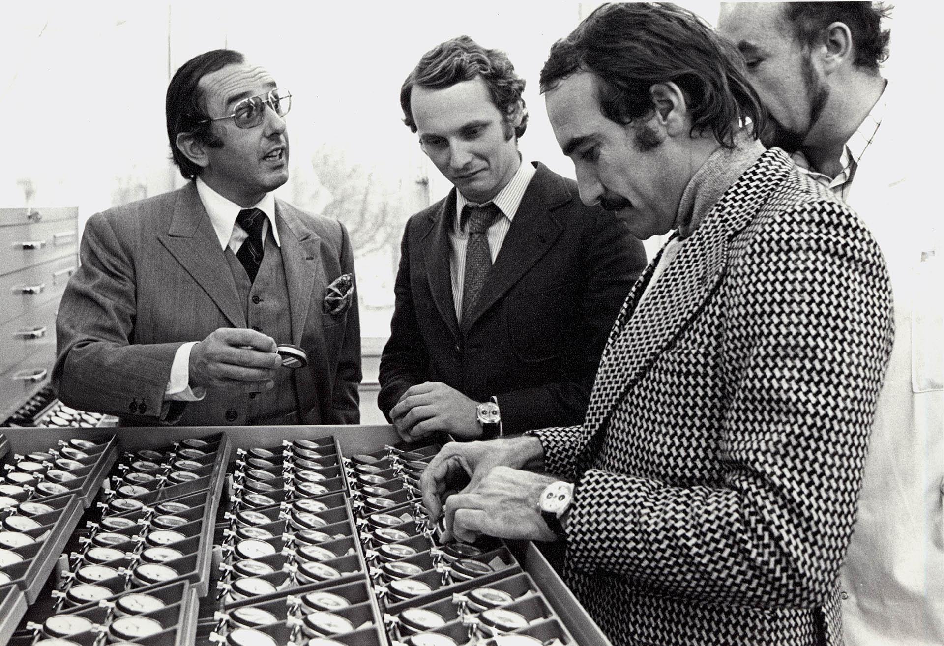 Jack W. Heuer mit Niki Lauda und Clay Regazzoni