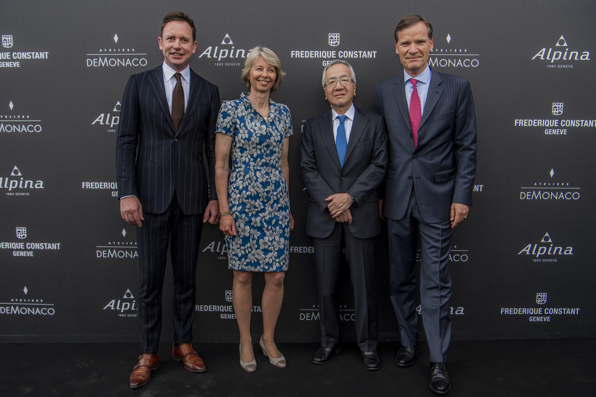 Aletta und Peter Stas, Niels Eggerding von Frederique Constant, CEO der Citizen Group Toshio Tokura,