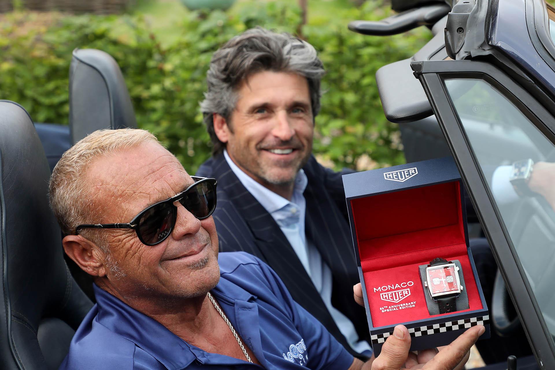 TAG-Heuer-Testimonial Patrick Dempsey und Chad McQueen, der Sohn des Schauspielers Steve McQueen, bei der Präsentation der zweiten Jubiläumsedition der TAG Heuer Monaco in Le Mans.