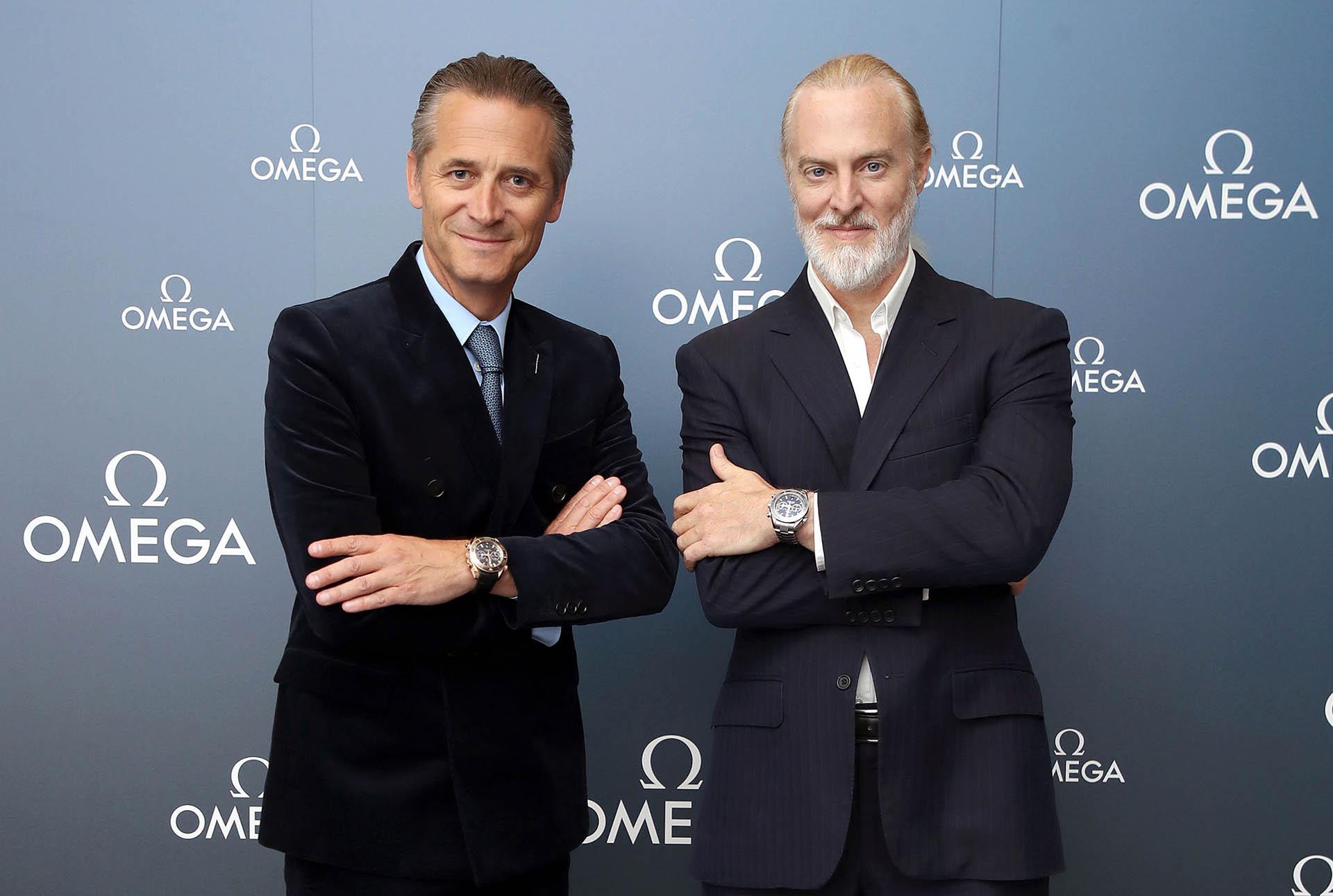 Omega-CEO Raynald Aeschlimann (links) und Rekordhalter Victor Vescovo.