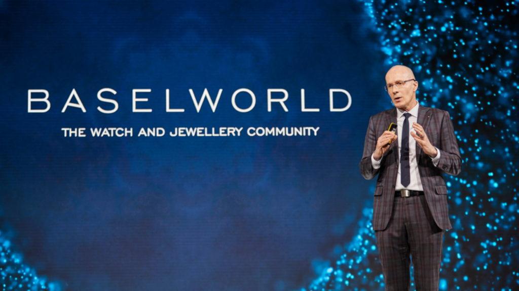 Da war die Welt noch in Ordnung: Michel Loris-Melikoff, Managing Director Baselworld, bei der Abschlusspressekonferenz der Messe 2019